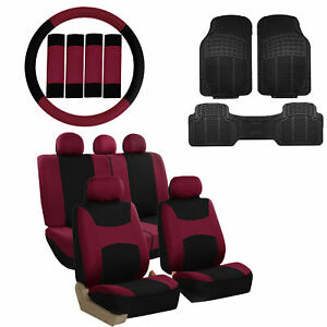 Burgundy Black Car Seat Covers For Auto W steering Cover belt Pads floor Mats