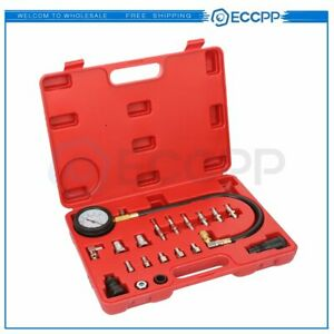 20 Pc Diesel Engine Compression Tester Testing Gauge Gage Check Test Tool Kit