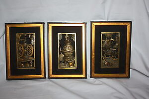 Vintage Set 3 Brass Silhouette Cameo Framed Pictures Stove Rocking Chair Grinder