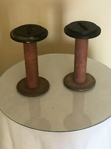 Vtg 2 Wood Thread Spools Industrial Textile Wooden Bobbins