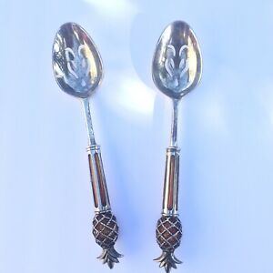 Serving Spoons Silver Plated With Pineapple Handles Set Silverware