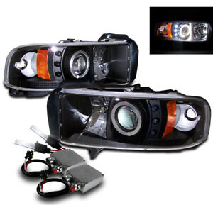 1994 2001 Dodge Ram Projector Halo Led Head Lights Black Lamp Pair 50w 6000k Hid