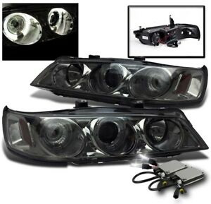For 1994 1997 Honda Accord Smoke Halo Led Projector Headlights Lamps 6000k Hid