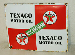 Texaco Motor Oil Vintage Style Porcelain Signs Gas Pump Man Cave Station