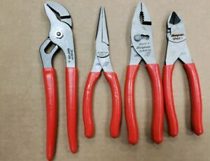 Snap On Pl400b red 4pc Plier Set 47acf 96acf 87acf And 96acp