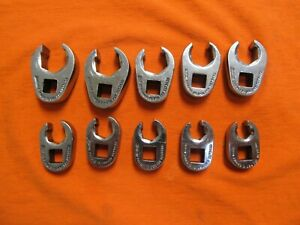 Vintage Snap on 3 8 Drive 10pc Flare Nut Crowfoot Wrench Set 9mm To 18mm Frhm