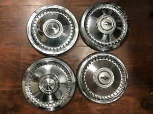 Set Of 4 Chevy Classic Impala Chevelle Dog Dish Poverty Hubcaps 9 1 2 Chevy