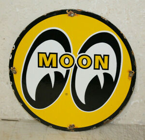 Moon Eyes Oil Vintage Style Porcelain Signs Gas Pump Plate Man Cave Station