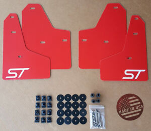 Sr 2011 2018 Ford Focus St Se S Mud Guard Flaps Set Red W Logo Hardware Kit