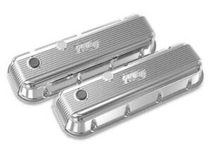 Holley 241 301 Bbc Vintage Series Finned Valve Covers Polished Finish