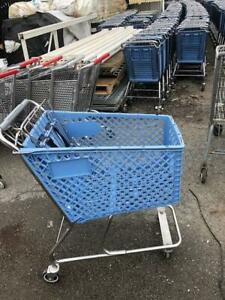 Shopping Carts Mini Blue Plastic Basket Lot 10 Used Dollar Store Fixtures Rehrig