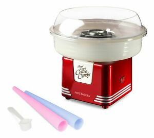 Nostalgia Cotton Candy Maker Includes 2 Reusable Cones And Scoop Retro Red