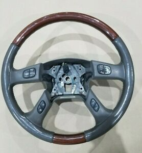 2002 Cadillac Escalade Steering Wheel Gray Woodgrain Leather Oem Swh