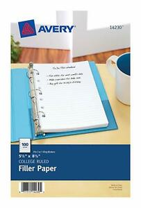 Avery Mini Binder Filler Paper College Ruled 5 1 2 X 8 1 2 100 Sheets 14230