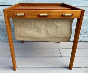 Vintage Mid Century Danish Modern Bent Silberg Teak Magazine Rack Table C 1970