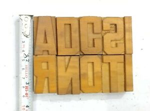 Letterpress Letter Wood Type Printers Block lots Of 10 Typography eb 139