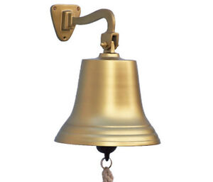 Antiqued Brass Finish Solid Aluminum Ship S Bell 10 Nautical Hanging Wall Decor