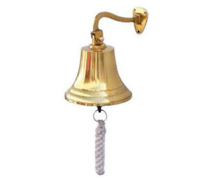 Brass Plated Solid Aluminum Ship S Bell 7 Nautical Hanging Wall Decor New