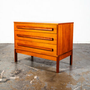 Mid Century Danish Modern Dresser Chest Drawers Solid Teak 3 Drawer Denmark Low