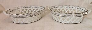 Very Fine Pr Early 19th Century Reticulated Pearlware Baskets Great Condition