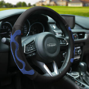 Universal Leather Steering Wheel Covers For Auto Car Suv Van Black Blue