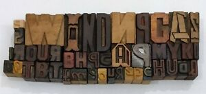 Letterpress Letter Wood Type Printers Block Lot Of 44 Typography eb 90