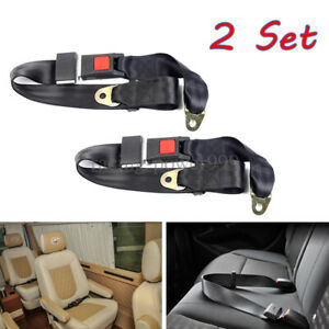 2x Car Safety Seat Belt Lap 2 Point Travel Adjustable Retractable Auto Universal