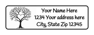 400 Tree Heart Personalized Return Address Labels 1 2 Inch By 1 3 4 Inch