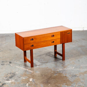Mid Century Danish Modern Table Entryway Entrance Console Storage Teak Rosewood