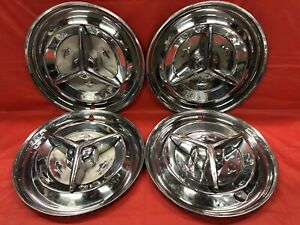 Vintage Set Of 4 1956 Oldsmobile 15 Spinner Hubcaps Jetstar Starfire Holiday
