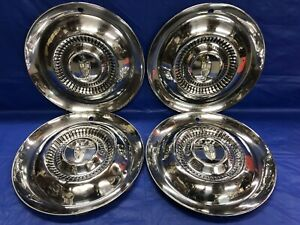 Vintage Set Of 4 1954 55 Lincoln 15 Hubcaps Continental Mark Premier