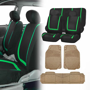 Black Green Seat Covers Set For Car Suv Auto With Beige Floor Mats