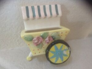 Vintage 1950#x27;s Flower Cart Japan Wall Pocket