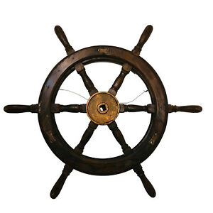 Antique 36 Large Nautical 6 Handle Vintage Wooden Ship Wheel 0317jw