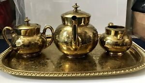 3 Piece Meriden Silverplate Co Sugar Bowl Creamer Tea Pot With Tray Gold