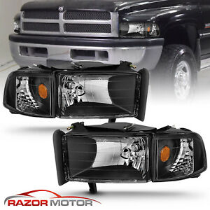 1994 2001 Dodge Ram 1500 2500 3500 Black Replacement Headlights Corner Signal