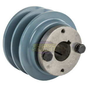 Cast Iron 3 35 2 Groove Dual Belt B Section 5l Pulley With 1 Sheave Bushing