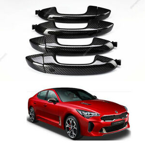 Real Carbon Fiber Door Handles Black Color Oem Parts For Kia Stinger 2018 2020