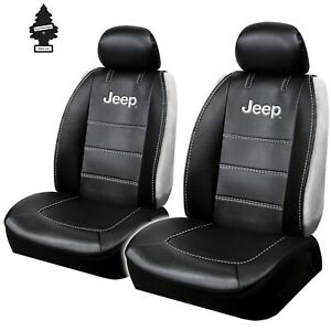 Car Seat Covers Set For Jeep Logo Black Sideless Universal Size Brand New