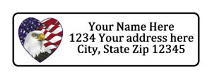American Flag Eagle Heart Personalized Return Address Labels 1 2 In By 1 3 4 In