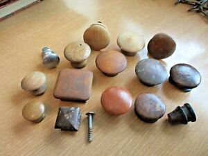 Antique Assortment Of 14 Kitchen Cabinet Wood Drawer Pulls W 1 Chrome