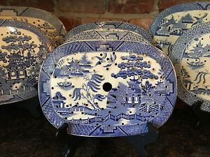 Antique English Meat Platter Drainer Blue Willow Transferware Oval Plateau 10