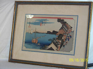 Old Japanese Gallery Woodblock Colorful Signed Marked Professionally Framed