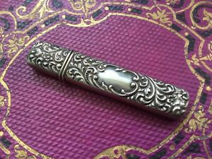 Antique Vintage Victorian Sterling Needle Case Holder Repousse Floral Design