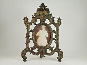Antique Cast Iron Victorian Picture Stand Brass Plated 12 1 2 T C 1850 S