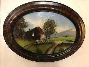 Antique Painting Reverse On Glass Framed Unsigned C12pix4size Details Make Offer