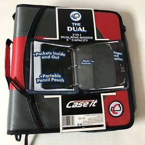 Case it The Dual Td 110 2 in 1 Zipper D ring Binder Red Gray 3 Inch Brand New