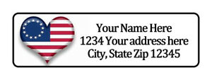 1776 Heart Flag Personalized Return Address Labels 1 2 In By 1 3 4 In