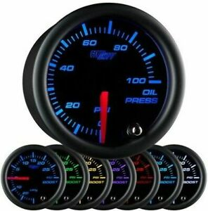 Glow Shift Black 7 Color Oil Pressure Gauge 52mm 100 Psi Glowshift Gauge