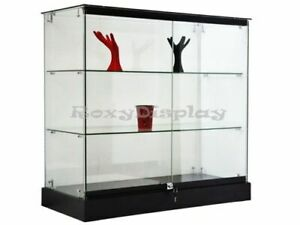 Glass Display Tower Black Base Store Fixture Knocked Down sc gs36b